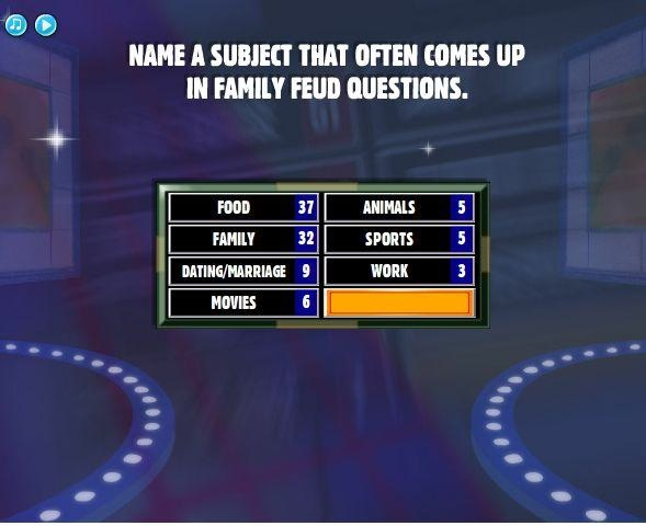 name a subject that often comes up in family feud. Black Bedroom Furniture Sets. Home Design Ideas
