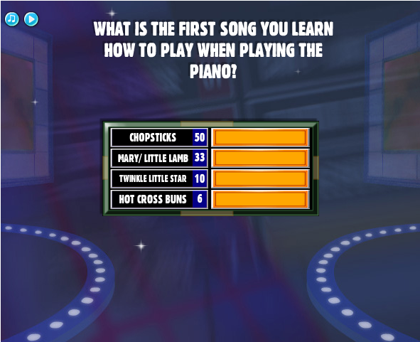 what is the first song you learn how to play when playing the piano family feud guide. Black Bedroom Furniture Sets. Home Design Ideas