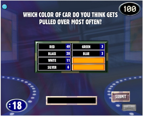 What Color Car Gets Pulled Over The Most >> Family Feud Guide Page 2372 Of 3045 When It S Time To Play The