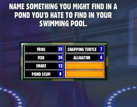name something you might find in a pond you 39 d hate to find in your swimming pool family feud