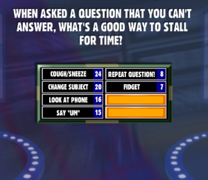 When Asked A Question That You Can't Answer, What's A Good Way To Stall For Time? - Family Feud ...