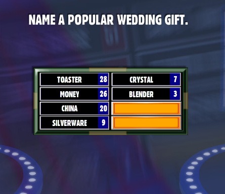 Name A Popular Wedding Gift. - Family Feud Guide : Family Feud Guide