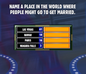 Name a place in the world where people might go to get for Places to run off and get married