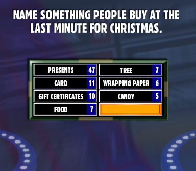 name something people buy at the last minute for christmas family feud guide family feud guide
